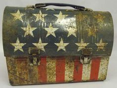 Vintage Patriotic Stars and Stripes Lunch Pail great idea for mail box Vintage Lunch Boxes, Vintage Tins, Vintage Picnic, I Love America, Old Glory, Patriotic Decorations, Red White Blue, American Flag, American Pride