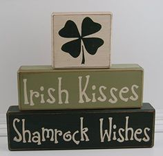 Ready To Ship As Shown! New! Irish Kisses Shamrock Wishes - Primitive Country Distressed Wood Stacking Sign Blocks Seasonal Holiday Happy St. Patrick's Day 4 Leaf Clover