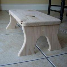 Step Stool Wooden Wood Alder Oversized Unfinished by LaffyDaffy, $79.99