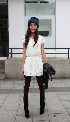 so cute! fun way to wear lighter dresses through winter
