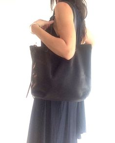 Beautiful Black Leather Tote Bag Laptop bag black by sord