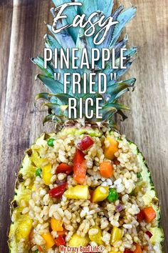 This easy Instant Pot Pineapple Fried Rice is egg free, gluten free, dairy free, and vegan! This is a perfect plant based dinner recipe when you omit the oil. This healthy Pineapple Rice is made with brown rice and packed with colorful vegetables. Made with coconut aminos, ginger and garlic, and dry mustard. Vegetarian? You can add eggs! Stovetop directions included. #vegan #easy #instantpot #pineapple