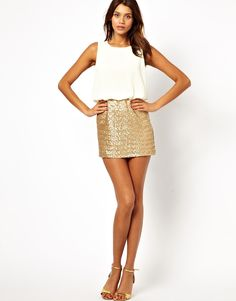 TFNC Dress With Blouson Top And Sequin Skirt - StackDealz