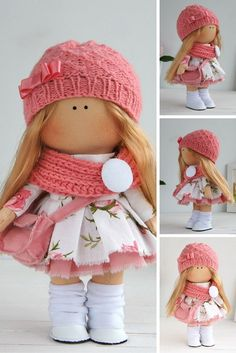 Handmade doll toy Tilda doll Interior doll Art doll blonde pink colors Soft doll…