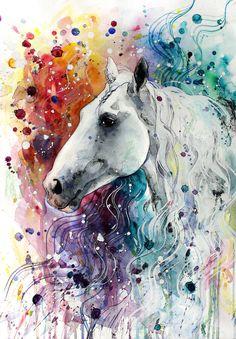 — Horse Art. #watercolour #Rainbow #colors