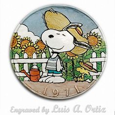 Snoopy & Woodstock Ike Hobo Nickel Pinup Colored& Engraved by Luis A Ortiz Hobo Nickel, Snoopy And Woodstock, Hand Engraving, Charlie Brown, Pinup, Hand Carved, Carving, Wallpaper, Friends