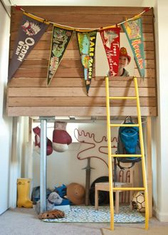 fun boy's room loft bed - I was going to ask why there was a picture hanging at the top of the ladder, but it is the boy in the lofty bed room!!  cute!!