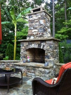 Outdoor Stone Fireplace Kit traditional-firepits