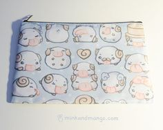 9 x 6 zippered bag featuring poros from League of Legends.  Bags are made from polyester fabric and come with a zippered inner pocket. Fits handheld