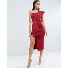 ASOS RED CARPET Bow One Shoulder Midi Dress (4.740 RUB) ❤ liked on Polyvore featuring dresses, red, midi cocktail dress, red midi dress, bodycon dress, midi dresses and red dress