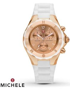 MICHELE-MWW12F000030-WOMENS-CHRONO-ROSE-GOLD-TONE-DIAL-WHITE-SILICON-WATCH-NEW