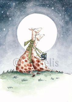 Nieuwjaarsbrief An Melis Cute Illustration, Character Illustration, Tropical Animals, Giraffe Art, Christmas Paintings, Christmas Books, Animal Nursery, Watercolor Cards, Whimsical Art
