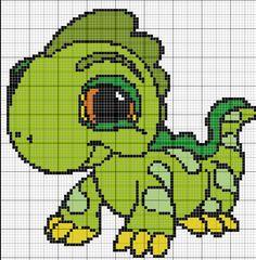 dinosauro pallocchio Just Cross Stitch, Beaded Cross Stitch, Cross Stitch Embroidery, Cross Stitch Patterns, Crochet Diagram, Crochet Chart, Baby Sweater Knitting Pattern, Knitting Patterns, Minecraft Pattern