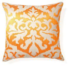 One Kings Lane - Summer Citrus - Ikat 20x20 Embroidered Pillow, Orange