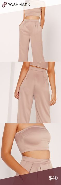 Nude Satin Wide Leg Pants Can be dressed up or down Missguided Pants