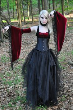 Inspiration for Goth Regency. Medieval Gothic Stock  by *MariaAmanda red black goth dress corset blonde dark