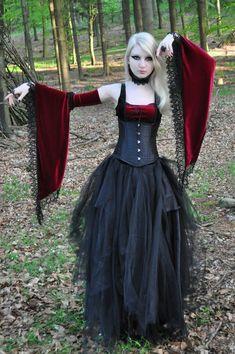 Inspiration for Goth Regency. Medieval Gothic Stock  by *MariaAmanda red black goth dress corset blonde dark
