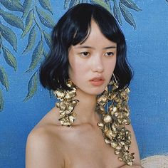 Ejing Zhang Design ( Our gold-foiled supersize earrings for catwalk,featured in T Magazine Pretty People, Beautiful People, Portrait Photography, Fashion Photography, Jewelry Photography, Editorial Fashion, Editorial Hair, Hair Makeup, Portraits