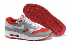 the latest 4f1a7 937bb Cool Nike Shoes   White Cool Grey Sport Red Nike Air Max 1 Men s Shoes