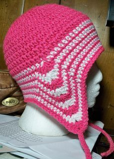 Crochet ear flap hat with longer back. You don't have to make extra pieces for flaps.