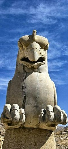 Giant Griffin, Persepolis, Iran (c.518-465 BCE) TheHuma(Persian:هما, pronouncedHomā,Avestan:Homāio), alsoHoma, is a mythical bird ofIranian legends and fables,and continuing as a common motif inSufiandDiwanpoetry. Although there are many legends of the creature, common to all is that the bird is said to never alight on the ground, and instead to live its entire life flying invisibly high above the earth #persepolis#iran#art#ancient #history#mesopotamia