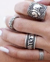 [Visit to Buy] Punk Rings for Women Anel Unique Carved Antique Silver Elephant Totem Ring Set Boho Jewelry Vintage Bague Femme Anillos Beach Jewelry, Boho Jewelry, Silver Jewelry, Jewelry Accessories, Silver Rings, Fashion Jewelry, Jewelry Rings, Jewelry Watches, Jewlery