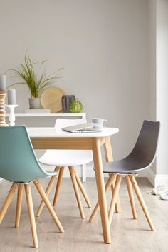 colourful plastic dining chair with beech wood leg