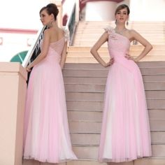 A-line One-Shoulder Floor-length beading Pink Evening Dress with Flower(s)