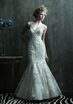 mermaid lace applique Beading Sweep train wedding dress 2013
