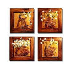 Wieco Art Happiness-100% Hand-painted Free Shipping Modern Canvas Wall Art Decor Framed Floral Oil Paintings on Canvas Best Gift Item 12x12i... - Click image twice for more info - See a larger selection of wall paintings at http://www.zbestsellers.com/level.php?node=106&title=oil-paintings - home, home decor, home ideas, wall decor, oil paintings, gift ideas