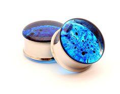 Blue Spatter Resin Plugs gauges - 00g, 7/16,1/2, 9/16, 5/8, 3/4, 7/8, 1 inch. $19.99, via Etsy.