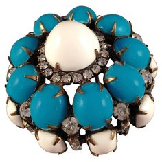 1960s Kenneth Jay Lane K.J.L. Brooch Blue and White   From a unique collection of vintage brooches at https://www.1stdibs.com/jewelry/brooches/brooches/