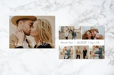 Printable Double Sided Modern Script Text Overlay Photo Card