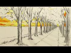 1 Noktalı Perspektif Nasıl Beraberlik Edilir: Adımların ve Ağaçların Bir Görünüşü Çiz - YouTube