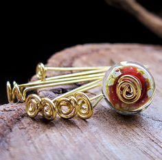 Artisan Swirl Head Pins  Golden Brass Fancy by NadinArtGlass, $7.30