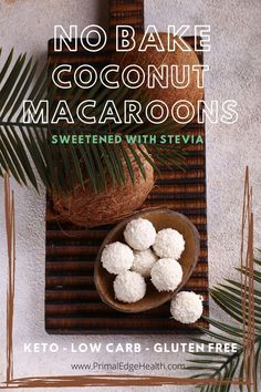 9 reviews · 30 minutes · Vegan Gluten free · Serves 12 · No bake Keto Coconut Macaroons are a quick fat bomb recipe you can make with basic keto pantry staples in just a few minutes. Made with just 6 ingredients and one bowl clean up is super easy! Plus… Sugar Free Desserts, Low Carb Desserts, Healthy Desserts, Healthy Food, Healthy Eating, Keto Cookies, Cookies Et Biscuits, Coconut Fat Bombs, Bomb Recipe