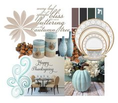 """""""PastelHarvest"""" by dollz-n-donz ❤ liked on Polyvore featuring interior, interiors, interior design, home, home decor, interior decorating, Lazy Susan, Noritake and ThanksgivingDecor"""