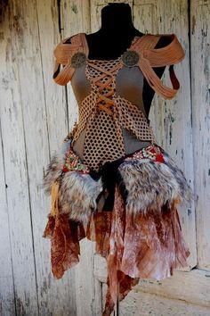Dress steampunk Halloween Nidalee inspired wild tribal