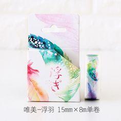 2J205   1.5cm Wide Fancy Feather Decorative Washi Tape DIY Scrapbooking Masking Tape School Office Supply Escolar Papelaria #Affiliate