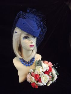 Reproduction vintage 1940s 50s STYLE blue Pillbox Veil Hat Races Wedding Face Net netted pill box navy roses feathers rockerbilly burlesque