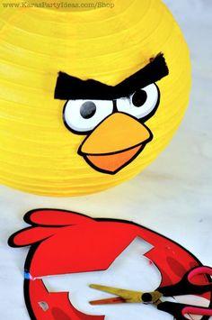 Lamparas de papel personalizadas con el rostro de Angry Birds.