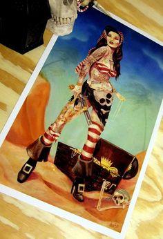 Regina pirata tatuato dell'arte spagnola Main di sararayart, $16.00