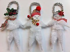 SNOWMAN family vintage style CHENILLE ORNAMENTS