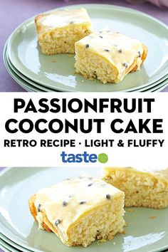 Passionfruit coconut cake - With its light fluffy texture and sweet passionfruit icing, there's no wonder this cake is a tast - Recipes Using Fruit, Fun Baking Recipes, Coconut Recipes, Bakery Recipes, Easy Cake Recipes, Sweet Recipes, Dessert Recipes, Australian Bakery, Australian Food