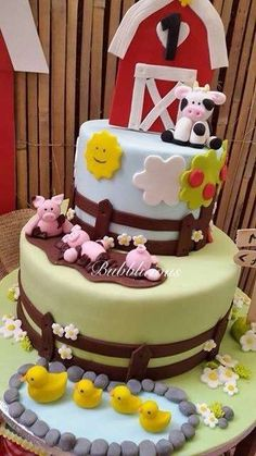 Fun cake at a farm birthday party! See more party ideas at CatchMyParty.com!