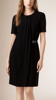 Атласная Вернуться Креп гофрирования Подробности платье черный | Барберри
