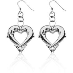 Belk  Co. Sterling Silver Kissing Dolphins Heart Dangle Earrings Set... ($63) ❤ liked on Polyvore featuring jewelry, earrings, sterling silver, sterling silver dolphin earrings, sterling silver jewelry, sterling silver heart jewelry, heart jewelry and heart earrings