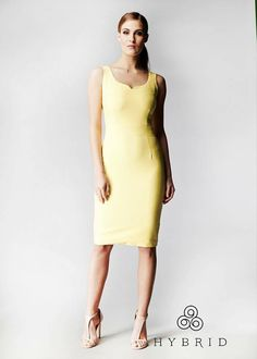 5efb2ea7c74 Hybrid Danita Sweetheart Bodycon Pencil Dress in Pastel Yellow  www.hybridfashion.com