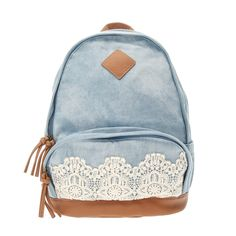 "<P>Crochet detail on the front pocket gives this denim backpack a pretty touch. Inner and outer zippered pockets, adjustable straps and zipper closure.</P><UL><LI>12""L x 15""H x 6""W<LI>Denim/Fabric</LI></UL>"