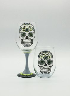 Gray Sugar Skull Hand Painted Wine Glass Stemmed or Stemless